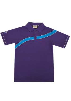 Rolleston College Polo Purple/Cyan